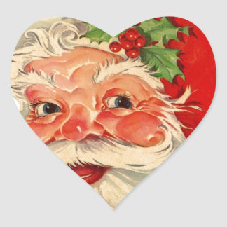 Vintage Smiling Santa Christmas Holiday Gift Item Heart Sticker