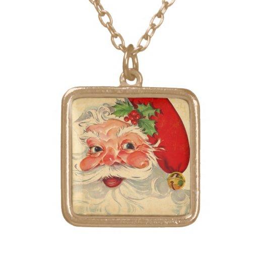 Vintage Smiling Santa Christmas Holiday Gift Item Custom Necklace