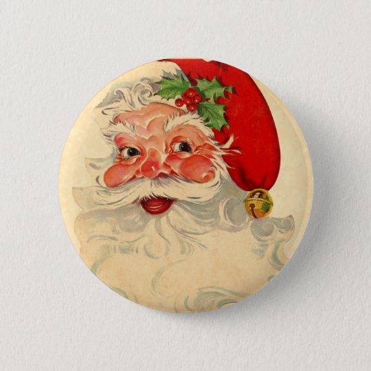 Vintage Smiling Santa Christmas Holiday Gift Item Pinback Button