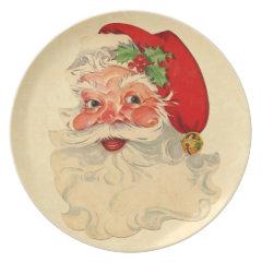 Vintage Smiling Santa Christmas Holiday Gift Item Dinner Plate