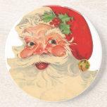 Vintage Smiling Santa Christmas Holiday Gift Item Sandstone Coaster