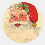 Vintage Smiling Santa Christmas Holiday Gift Item Round Sticker