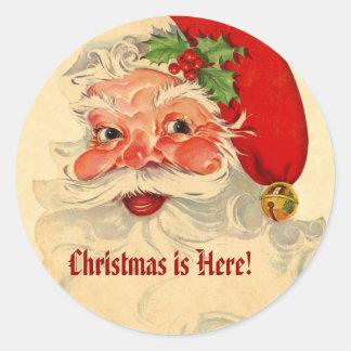 Vintage Smiling Santa Christmas Holiday Gift V07 Classic Round Sticker