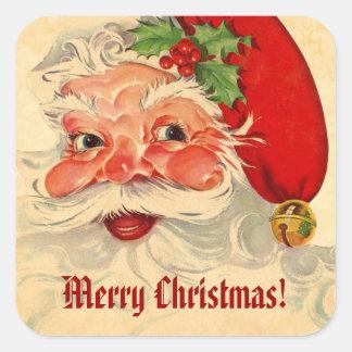 Vintage Smiling Santa Christmas Holiday V01 Square Sticker