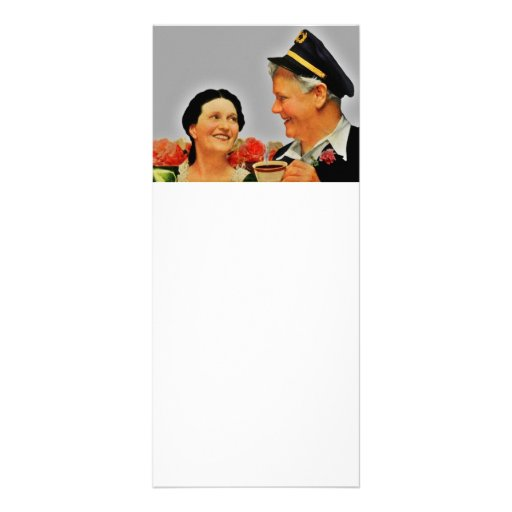 Vintage Smiling Woman and Man Drinking Coffee Customized Rack Card