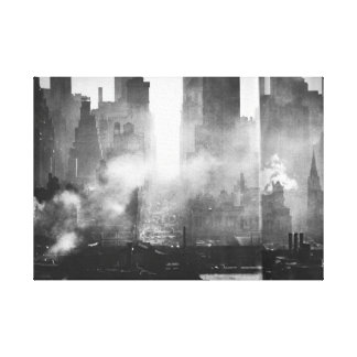 Vintage Smokey Gritty NYC Black and White Skyline Canvas Print
