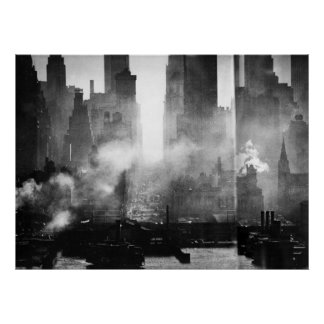 Vintage Smokey Gritty NYC Black and White Skyline Poster