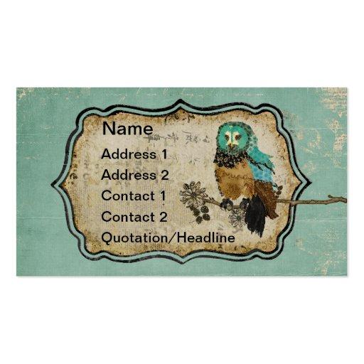 Vintage Smokey Rose Owl Business Card/Tags