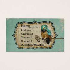 Vintage Smokey Rose Owl Business Card/tags Business Card at Zazzle