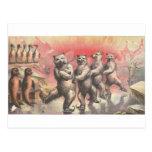 Vintage Smoking and Dancing Animals Postcard