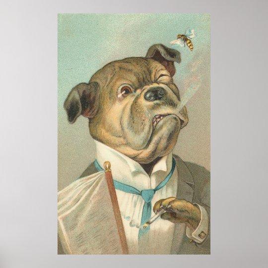 Vintage Smoking Bulldog Poster