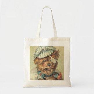 Vintage Smoking Dog Canvas Bag