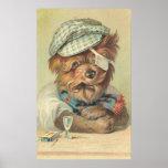 Vintage Smoking Dog Print