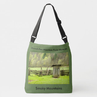 Vintage Smoky Mountains Outhouse Travel Photo Crossbody Bag