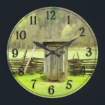 """Vintage Smoky Mountains Outhouse Travel Photo Large Clock<br><div class=""""desc"""">A Spring travel photo of a vintage outhouse and a split-rail fence in the Great Smoky Mountains National Park.     You can optionally personalize this tranquil,  scenic souvenir image by adding your initial,  name,  text or photo by pressing the &#39;Customize it&#39; button.</div>"""