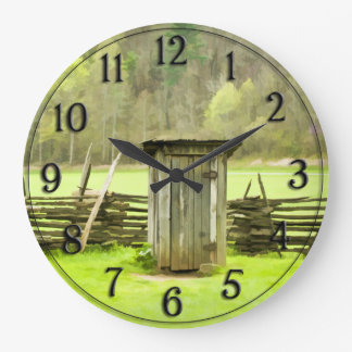 Vintage Smoky Mountains Outhouse Travel Photo Large Clock