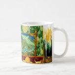 Vintage Snails Birds Tile Design Art Nouveau Classic White Coffee Mug