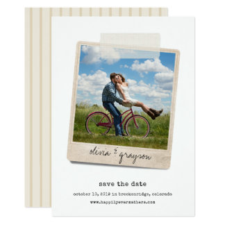 Vintage Snapshot   Photo Save the Date Card