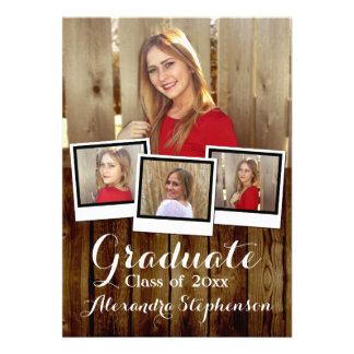 Vintage Snapshots Custom Graduation Photo Card