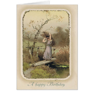 Vintage Snarky Birthday Card with Girl Working