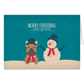 Vintage SNORT Frenchie Christmas Card