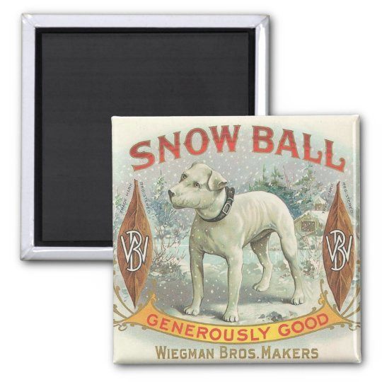 Vintage Snow Ball Dog 2 Inch Square Magnet