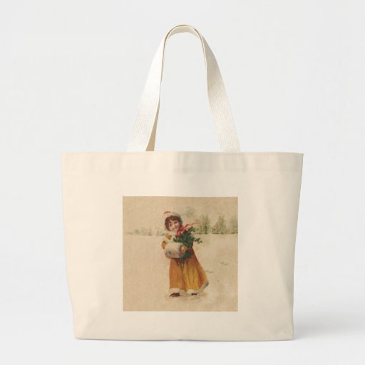 Vintage Snow Child in Yellow Coat Canvas Bag