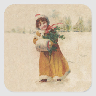 Vintage Snow Child in Yellow Coat Square Sticker