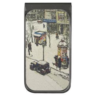 Vintage Snow Covered 1920s City Street Cars Winter Gunmetal Finish Money Clip