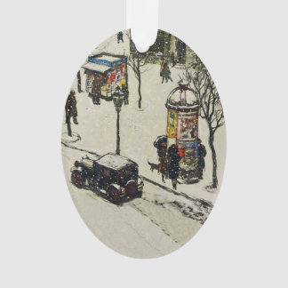 Vintage Snow Covered 1920s City Street Cars Winter Ornament