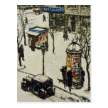 Vintage Snow Covered 1920s City Street Cars Winter Postcards