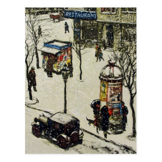 Vintage Snow Covered 1920s City Street Cars Winter Postcard