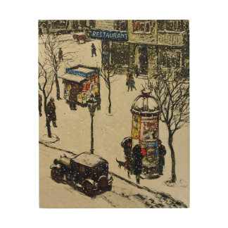 Vintage Snow Covered 1920s City Street Cars Winter Wood Print