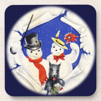 Vintage Snow Family and Dog Set of Cork Coasters