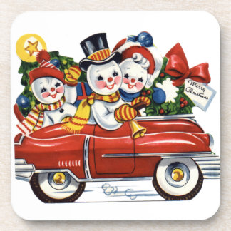 Vintage Snow Family Driving Set of Cork Coasters