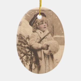vintage snow girl ornament