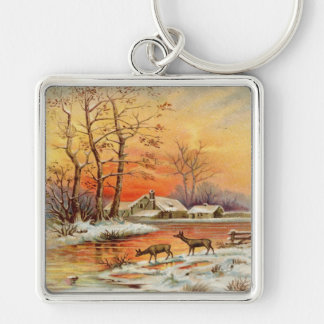 Vintage, Snow, Houses, Animals and Trees Key Chains