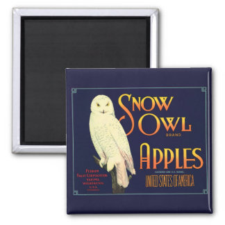 Vintage Snow Owl Apples Label 2 Inch Square Magnet