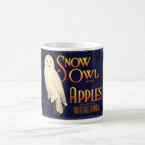Vintage Snow Owl Apples Label Coffee Mug