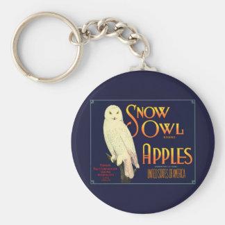 Vintage Snow Owl Apples Label Keychain