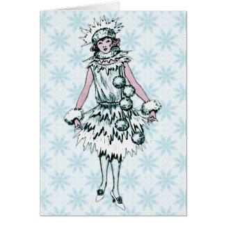 Vintage Snow Princess Greeting Card