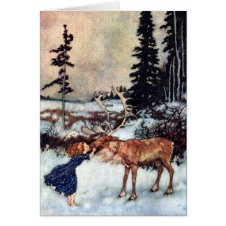 Vintage Snow Queen Gerda and Reindeer Fairy Tale Greeting Card