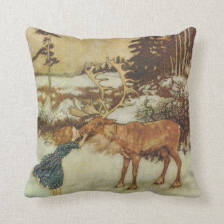 Vintage Snow Queen with Gerda and Reindeer Throw Pillow