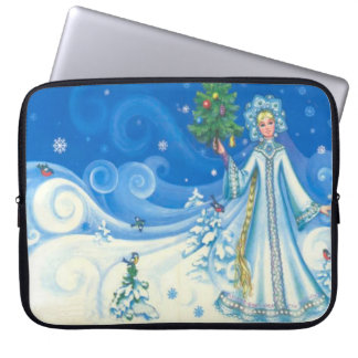 Vintage snow scene with the snow maiden, computer sleeves