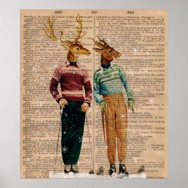 gidget26 Vintage Snow Ski Deer Dictionary Page Art Poster