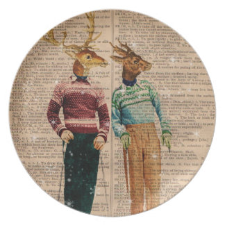Vintage Snow Ski Deer Dictionary Page Plate