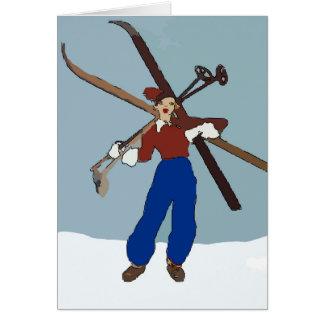 Vintage Snow Ski Gal Card