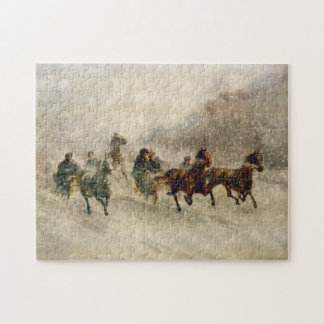 Vintage Snow Sleigh racing Puzzles