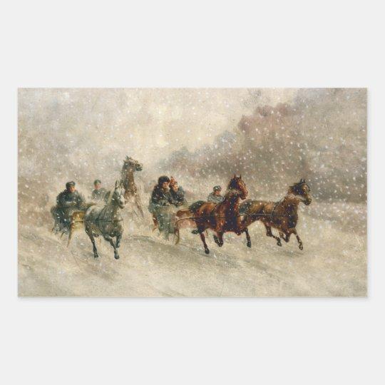 Vintage Snow Sleigh racing Rectangular Sticker