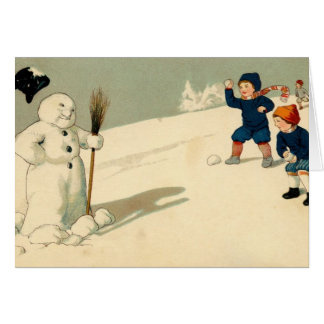 Vintage Snowball Fight Card